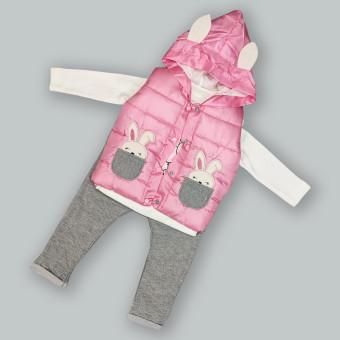 """Детский костюм тройка """"Зайка"""" розовый"""