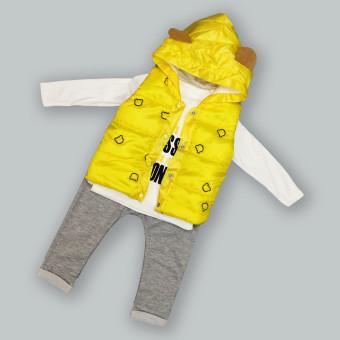 """Детский костюм тройка """"Мишка"""" желтый"""