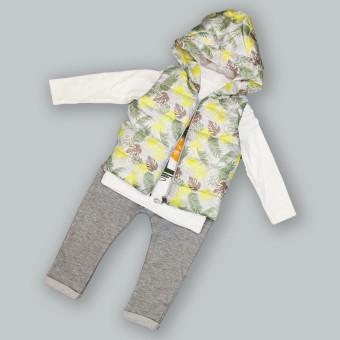 Детский костюм тройка Тропики желтый