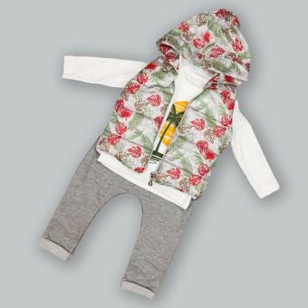 Детский костюм тройка Тропики красный