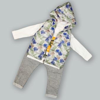 Детский костюм тройка Тропики синий
